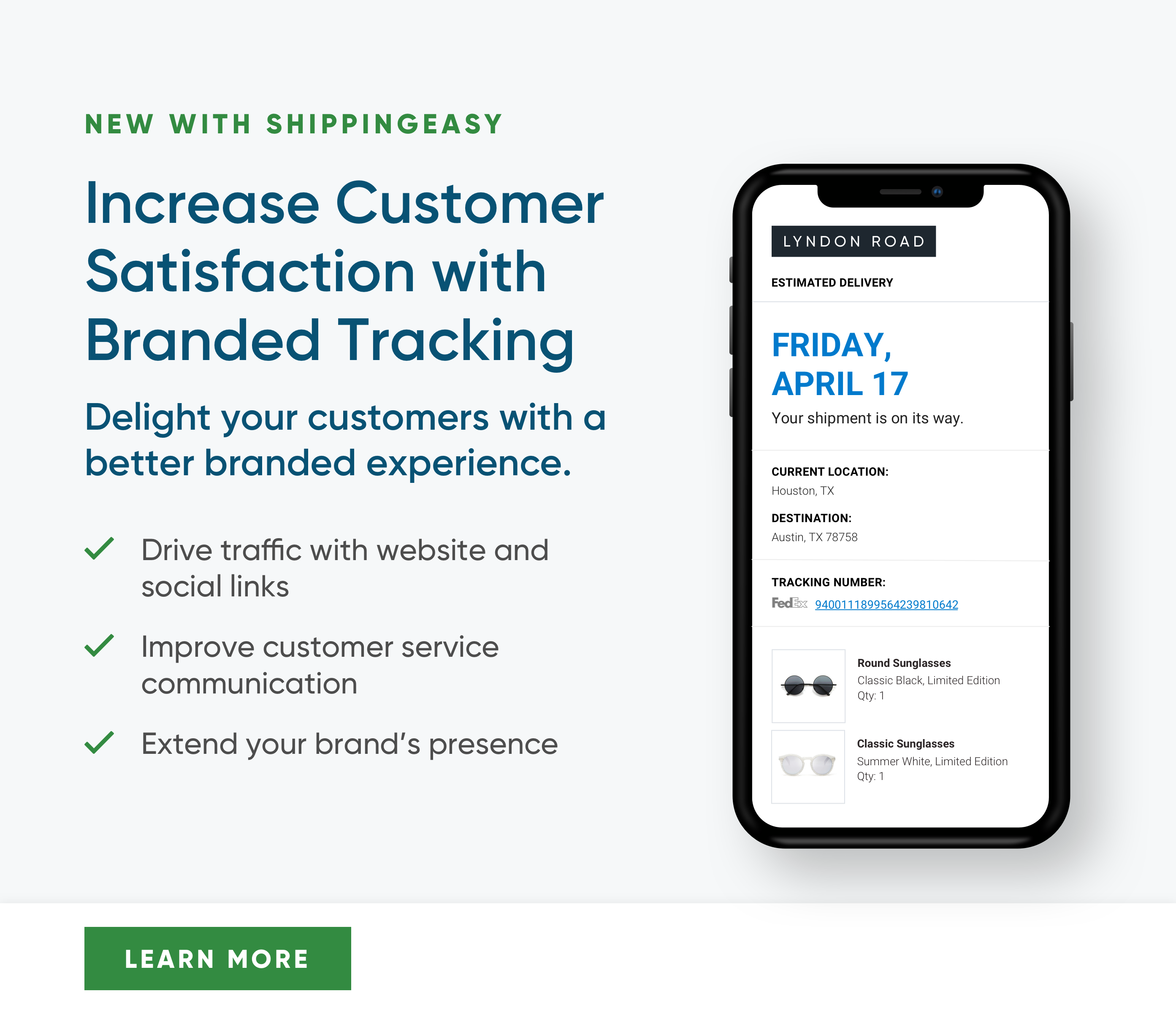 Increase Customer Satisfaction with Branded Tracking